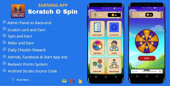 Scratch & Spin to Win Android App with Earning System